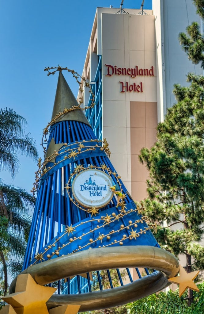 Disneyland Hotel with blue Disney hat in front