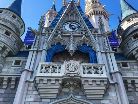 Close up of Cinderella's castle in shade