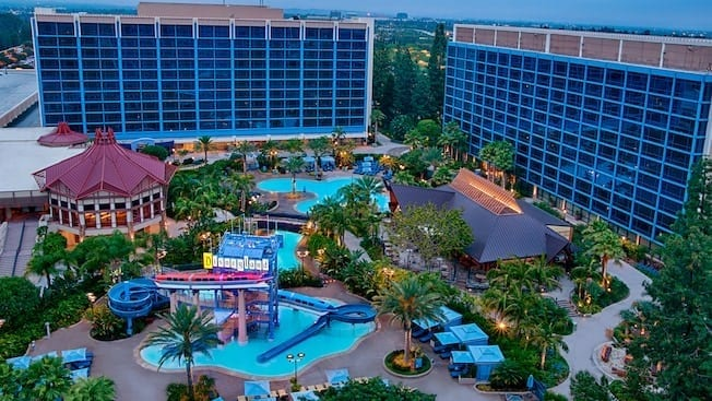 Overhead shot of Disneyland Hotel pools