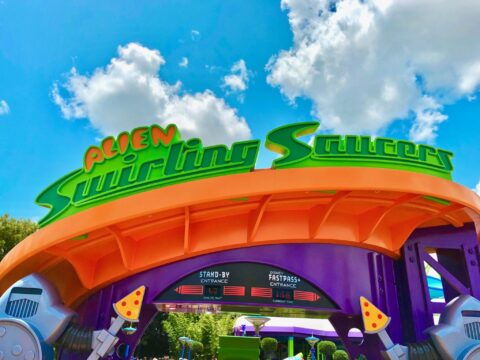 Toy Story Land Alien Swirling Saucers Green and Orange Entrance Sign
