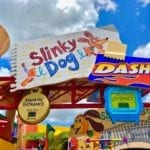 Red, Blue, and Brown Slinky Dog Dash Entrance Sign