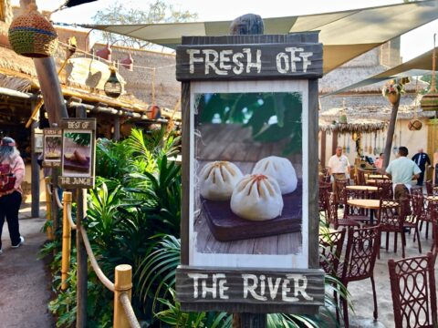Fresh off the River sign with picture of dumplings