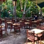 Outdoor dining area with seats and chairs in jungle atmosphere