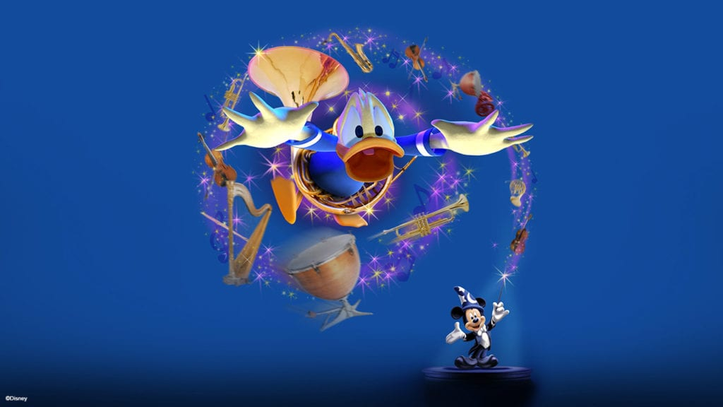 Donald Duck Surrounded by Instruments and Mickey Mouse Conducting Mickey's PhilharMagic