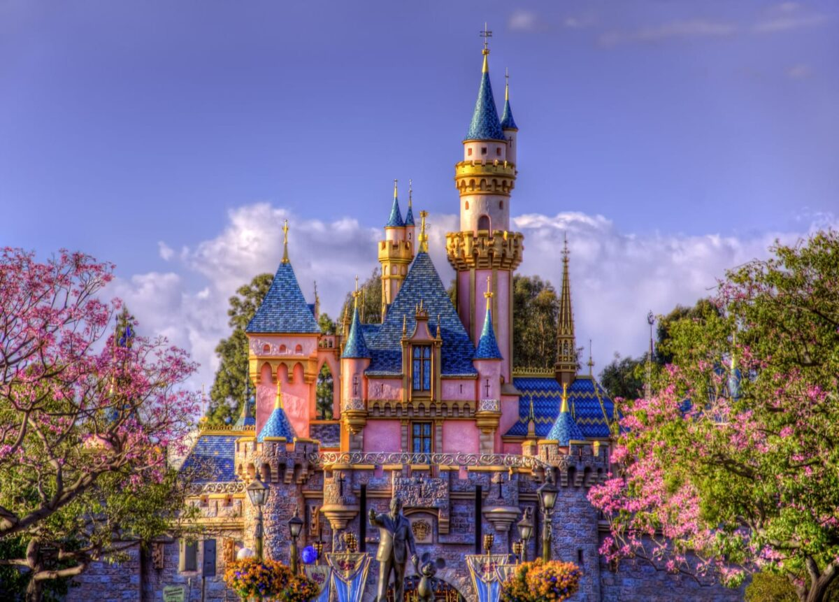Sleeping Beauty Castle with Spring Flowers