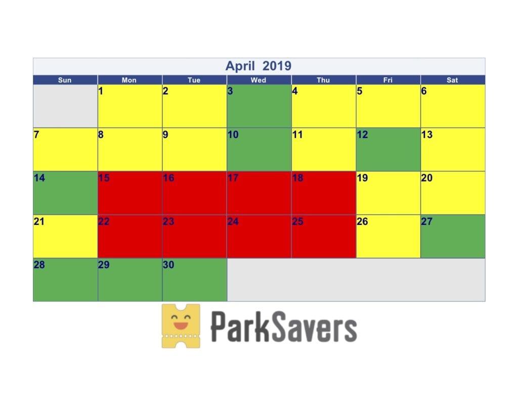 April Disneyland Crowd Calendar