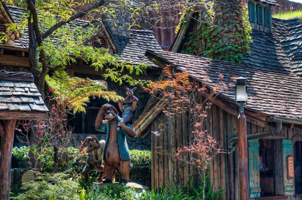Splash Mountain Wooden Characters Outside Brown Wooden Buildings