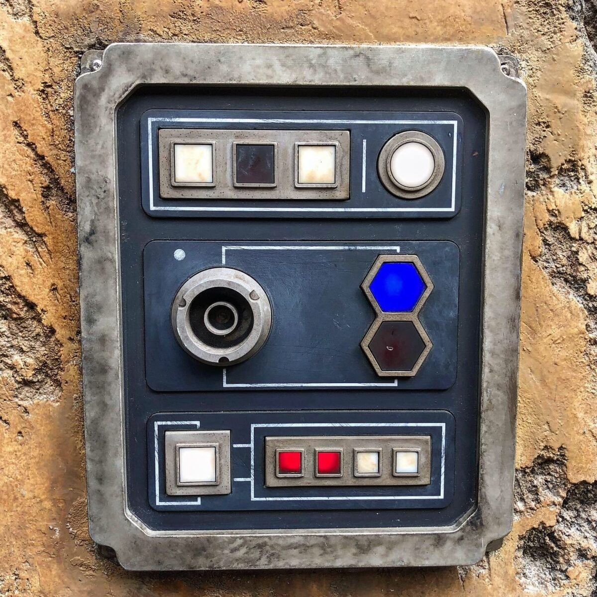 Black, White, Blue, and Red Star Wars Themed Control Panel