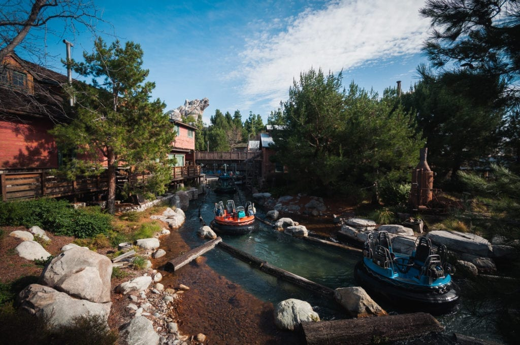 Blue and Orange Rafts In Water at Grizzly Run Attraction