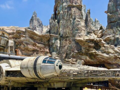 Millennium Falcon in Front of Grey and Light Brown Rocks