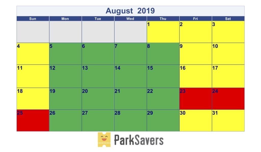 August Disneyland Crowd Calendar