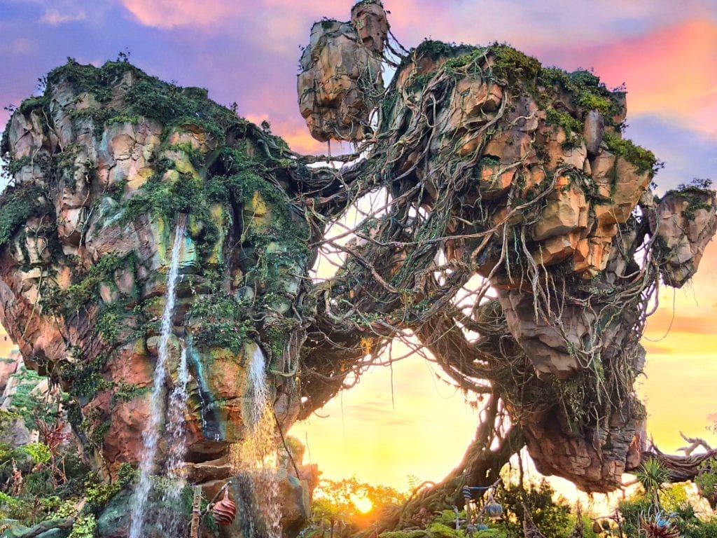Large Rocks with Greenery and Water Falling at Avatar's Flight of Passage