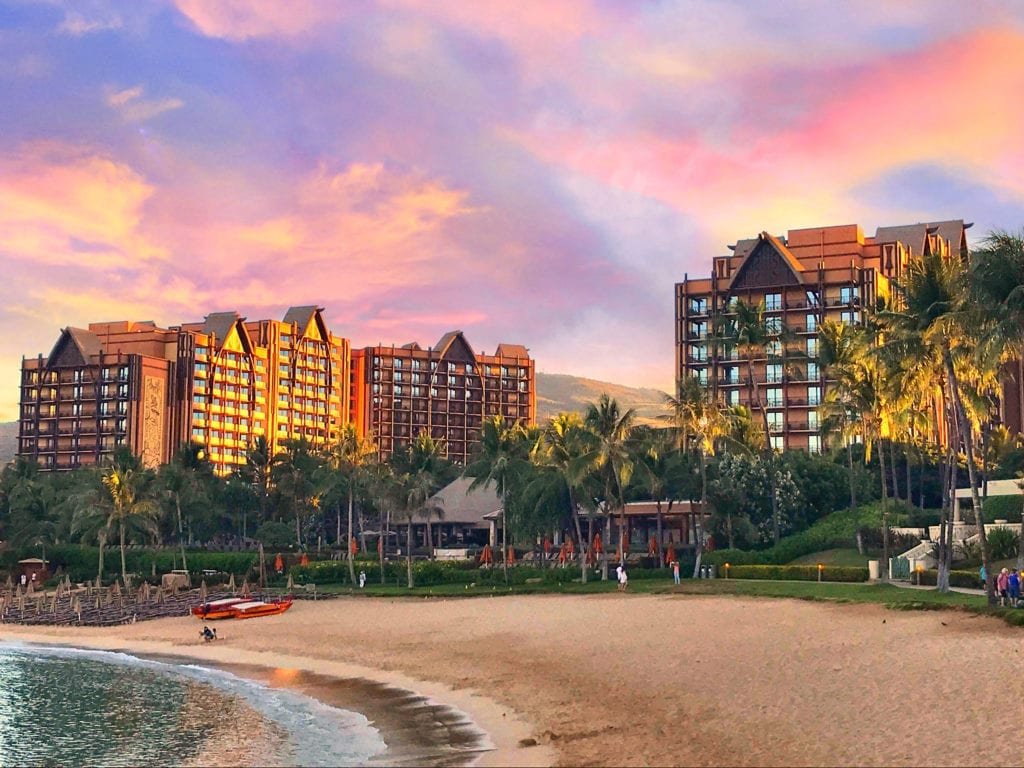 Disney's Aulani Resort and Beach Front at Sunset