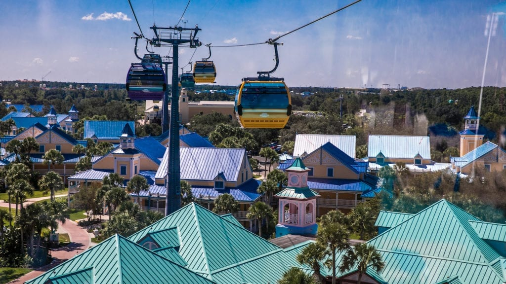 Skyliner Transport gondolas over teal and blue rooftops