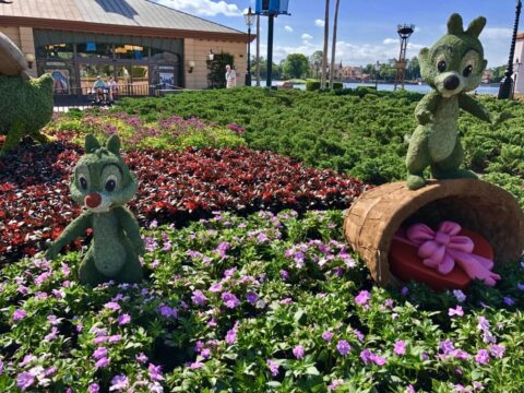 Characters carved in moss at Epcot garden festival