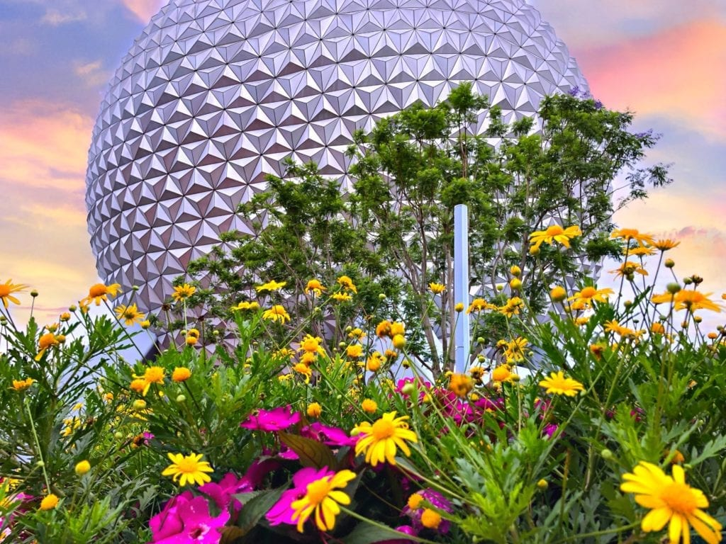 Epcot Spaceship Earth behind bed of colorful flowers