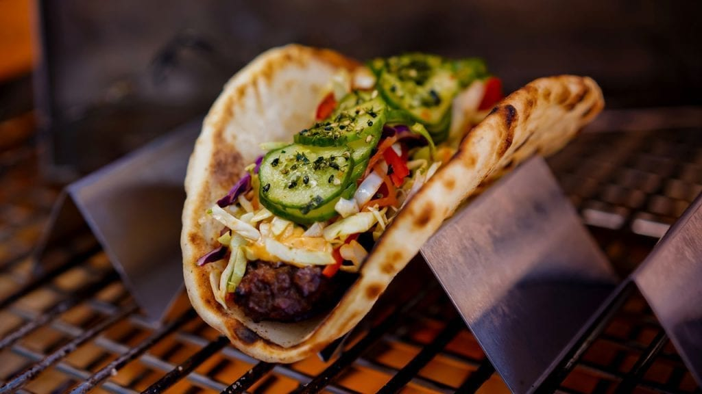 Gyro with cucumber and toppings at Galaxy's Edge Dining