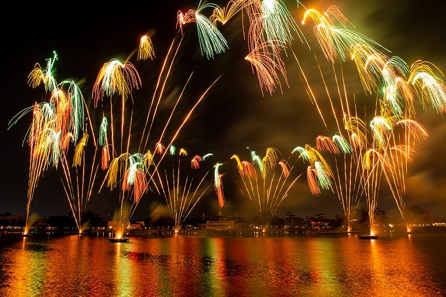Fireworks above water at Epcot forever