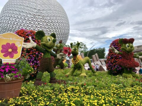 Mickey, Minnie, and Pluto topiary outside Epcot