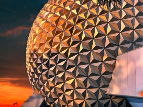 Epcot Spaceship Earth at Sunset