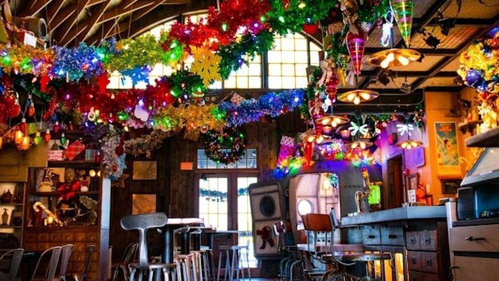 Jock Lindsey Bar with colorful decorations strung