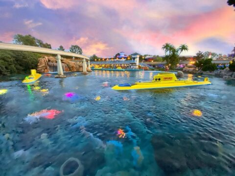 Finding Dory's Friends Yellow Submarine in water at Disney Park