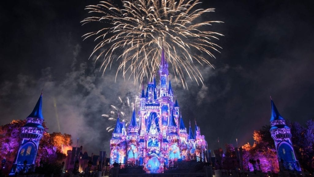 Display of Happily Ever After Fireworks outside of Cinderella castle
