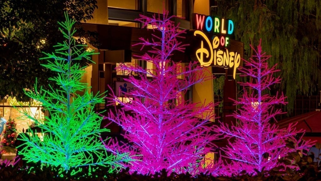 'Let It Glow' Trees are Merry and Neon Bright in Downtown Disney District