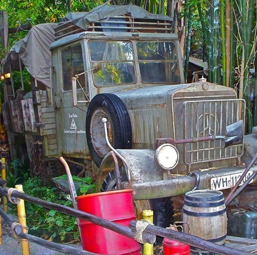 Green diesel truck outside Indiana Jones ride