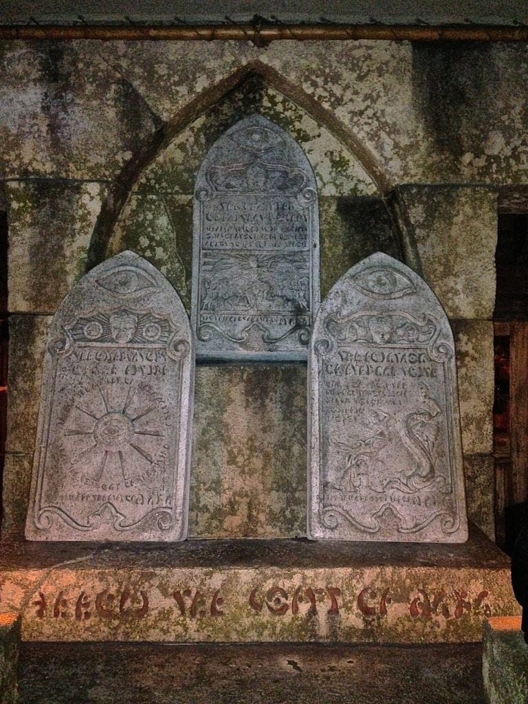 Marble Headstones inside Indiana Jones ride