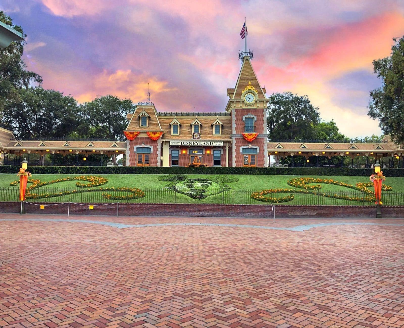 Disneyland main entrance at sunset