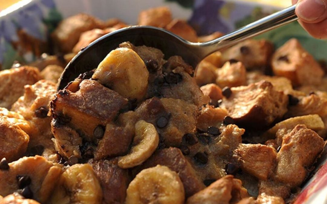 French Toast casserole with bananas and chocolate chips
