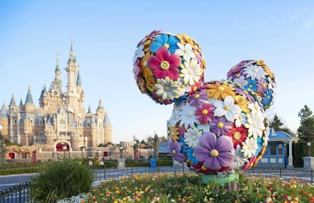 Shanghai Disneyland Castle with flowered Mickey Ears