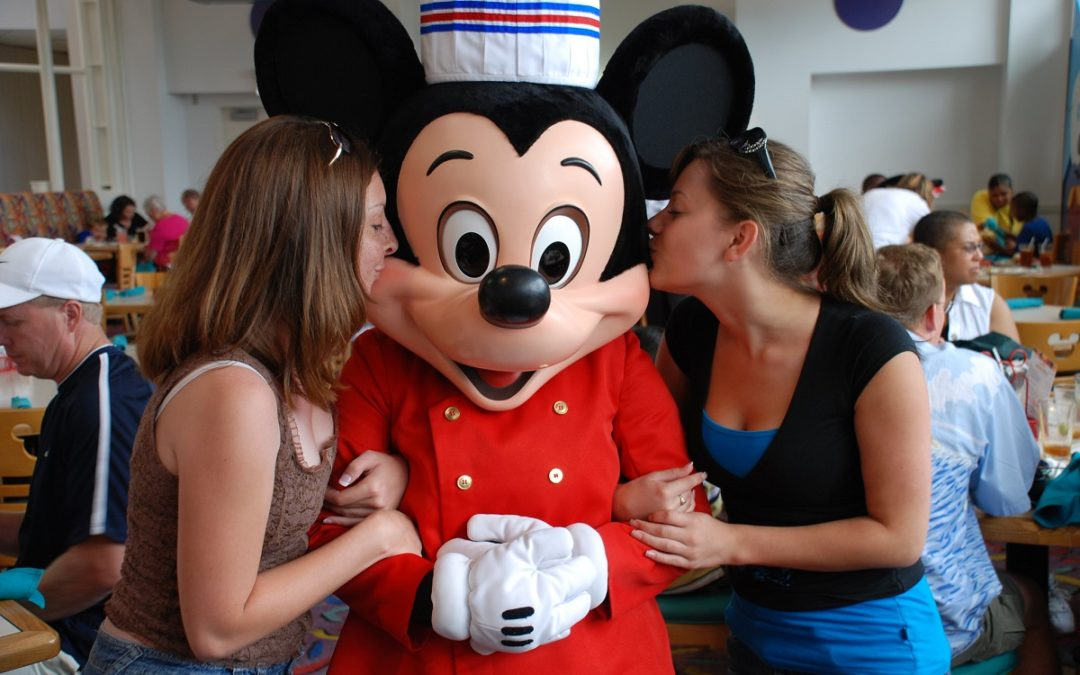 Mickey at character lunch with two guests