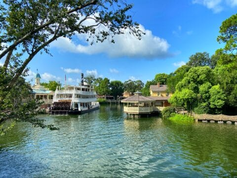 Mark Twain Riverboat in river during the day