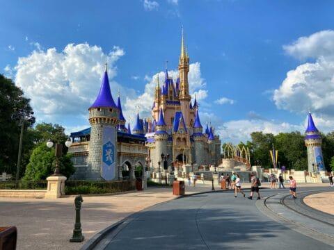 Blue and pink Cinderella Disney castle