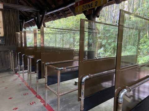 Line for ride with social distancing precautions set up
