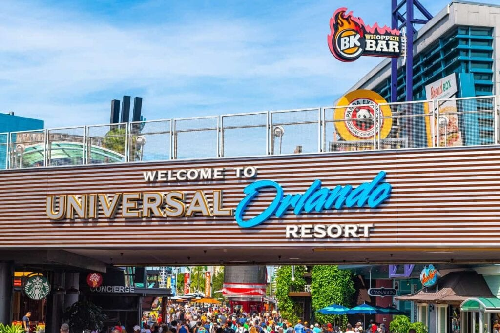 Grey, gold and blue Universal Studios welcome sign