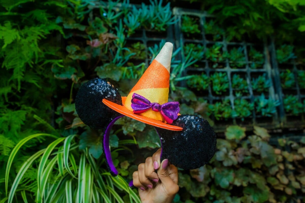 Black Minnie Mouse ears with candy corn shaped hat on top