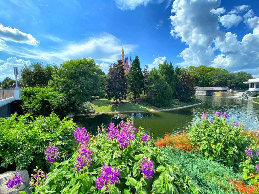 cinderella's castle with flowers and river in front