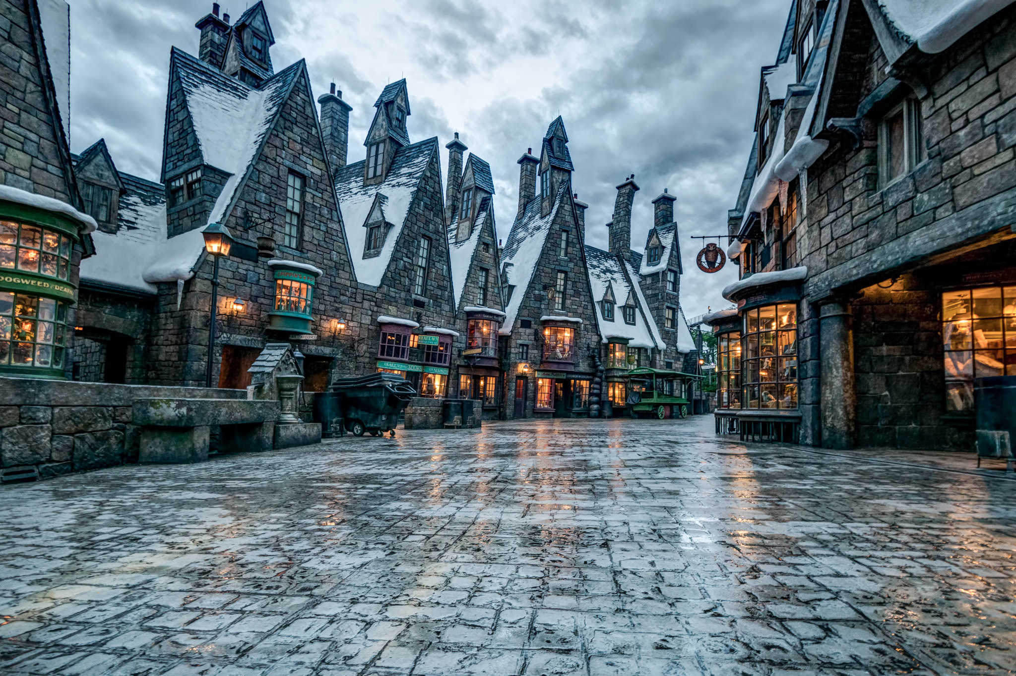 Rainy downtown Diagon Alley with overcast skies
