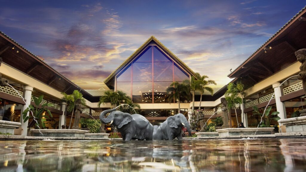 Front of resort with elephant statues in front