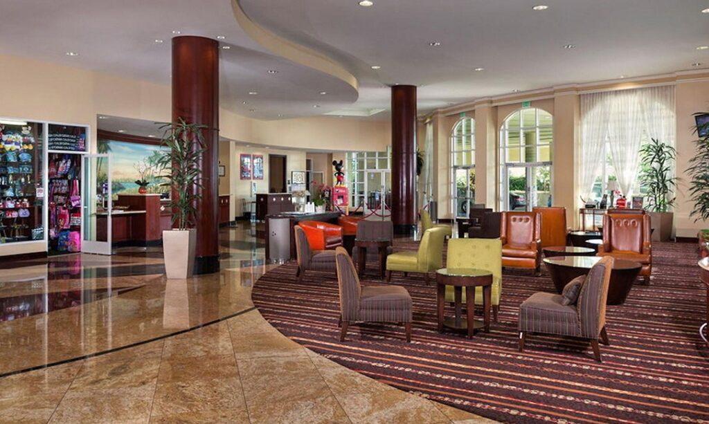 Inside lobby of the Desert Palms Hotel Anaheim