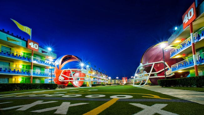 Football buildings and field at night
