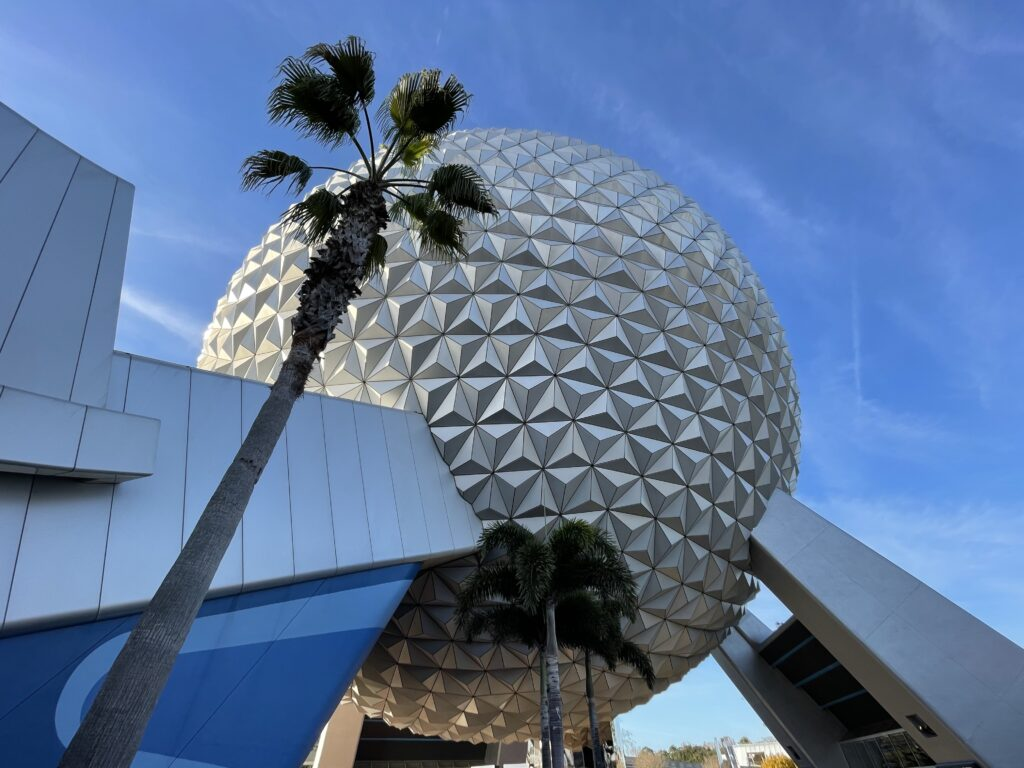 Spaceship Earth surrounded by Palm Trees