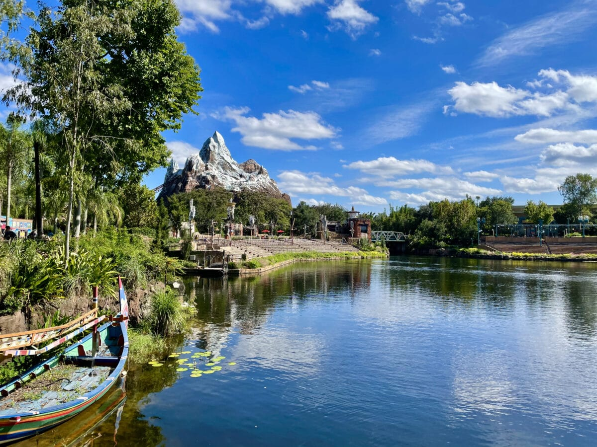 View of Expedition Everest across a lake