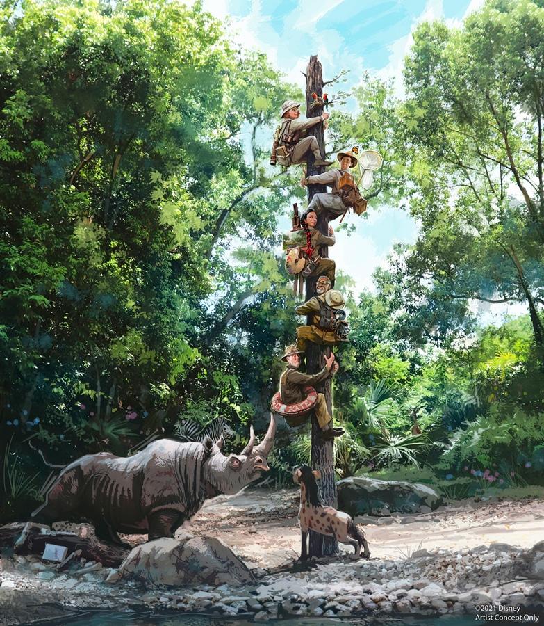 Jungle Cruise Totem Pole and rhino scene
