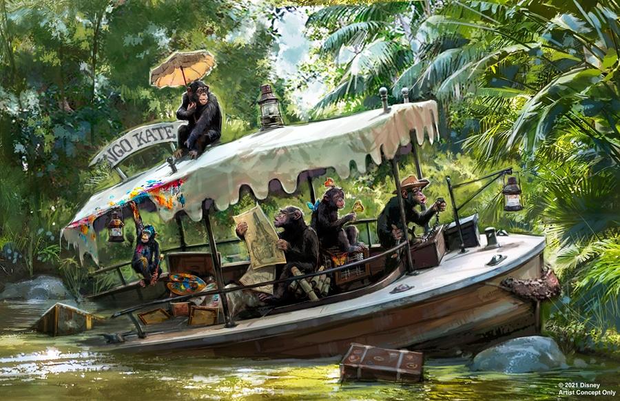 Sunken Jungle Cruise Boat with chimpanzees
