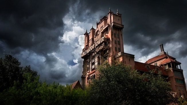 Tower of Terror with dark clouds surrounding it