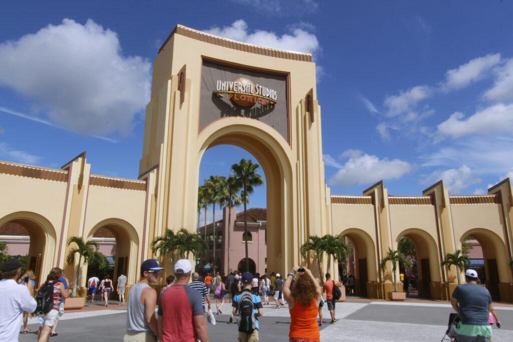 Theme park entrance archway